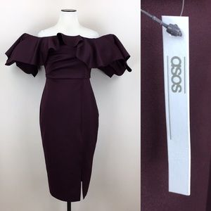 ASOS Off Shoulder Wine Dress